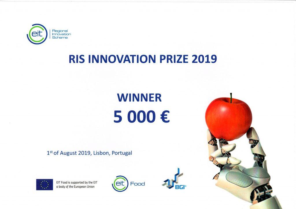 Agrodrone cencedora do 2º lugar no Prémio de Inovação do EIT Food 2019